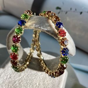 Big Colorful Hoop Crystals Earrings